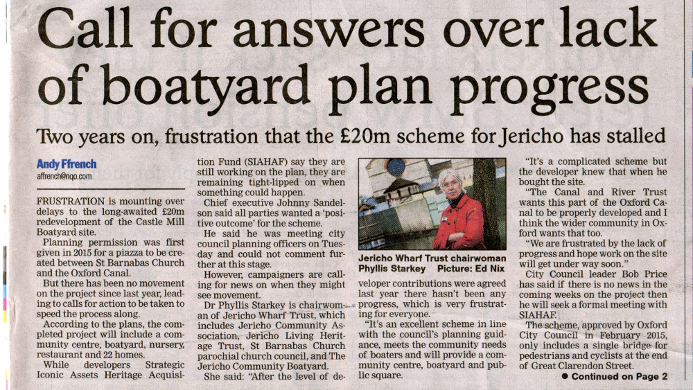 <p>Front-page Oxford Times article: &#8220;Chief executive Johnny Sandelson said all parties wanted a &#8216;positive outcome&#8217; for the scheme.&#8221;</p>