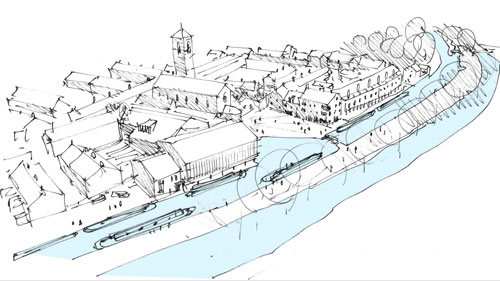 <p>Illustrative view of the proposals from the north-west. Image: Haworth-Tompkins</p>