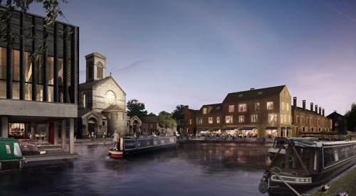 <p>Left, the boatyard docks with community centre hall above. Centre the winding hole for turning boats, the public square and the bridge. Right the restaurant and housing.</p>