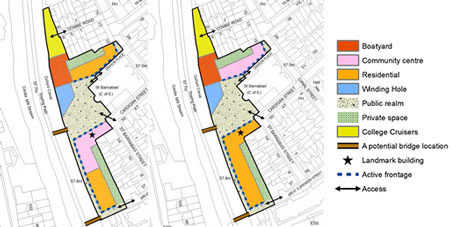 <p>The Council plan lllustrates two site layouts - with the community centre  to the south of the square (left), or to the north (right)</p>