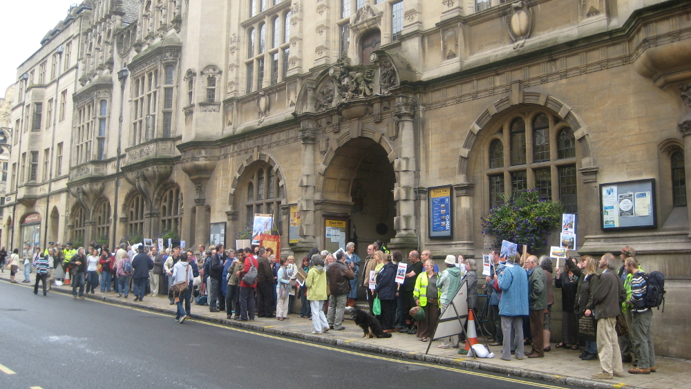 <p>Spring&#8217;s appeal against the refusal of planning permission draws protester to the Town Hall.</p>